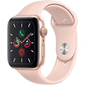 大降!史低价!最新款 Apple Watch Series 5 智能手表(GPS, 44mm),金色铝制表壳,配粉红色运动表带