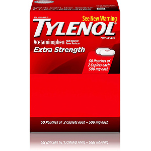 Tylenol Extra Strength Caplets with Acetaminophen, 2-pack of 50 ct