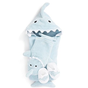 BABY ASPEN Let the Fin Begin Hooded Terry Robe, Bath Mitt & Slippers Set