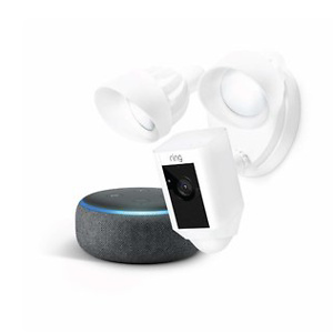 Ring Floodlight Camera (White) with Echo Dot