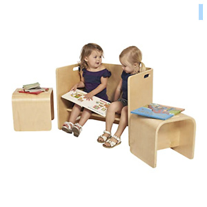 ECR4Kids Bentwood Multipurpose Homeschool Table and Chair Set