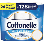 Cottonelle Ultra CleanCare Soft Toilet Paper , 24 Family Mega Rolls