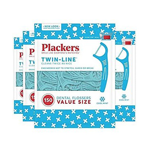 Plackers Twin-line Dental Floss Picks 150ct*4pk