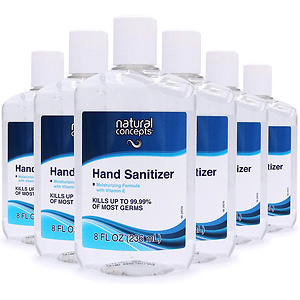 Natural Concepts Hand Sanitizer Gel, 6-Pack, 8 oz Bottles, 65% Ethyl Alcohol