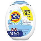 Tide PODS Free and Gentle Laundry Detergent, 96 Count