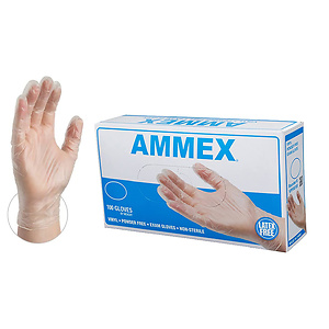 AMMEX Medical Clear Vinyl Gloves, Box of 100