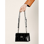 Croc-Effect Turn-Lock Crossbody Bag