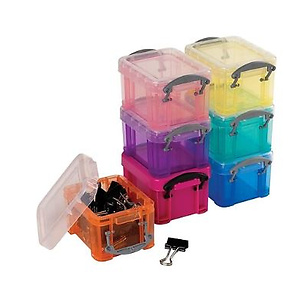 Really Useful Box® 0.14 Liter Snap Lid Storage Bin, Assorted Colors (0.14L ASS)
