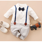 Baby Boy's Grace Faux-two Long Sleeve Jumpsuit in White(loose shape)