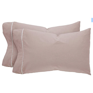 Amazon Brand – Rivet Contrast Hem Breathable Cotton Linen Pillowcase Set