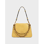Croc-Effect Chunky Chain Link Shoulder Bag