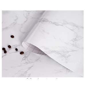 White/Gray Marble Paper Thicken Cleanable Self-Adhesive Wallpaper