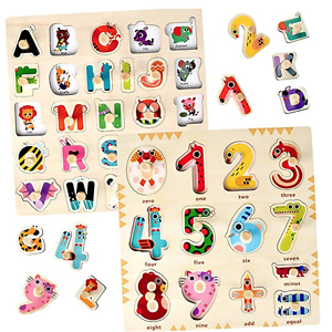 Blppldyci 木质儿童字母、数字益智拼图