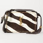 SAINT LAURENT Lou studded zebra-print calf hair and leather shoulder bag