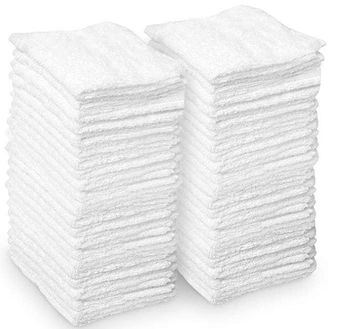 AIDEA Microfiber Cleaning Cloths White, Strong Water Absorption, 50PK