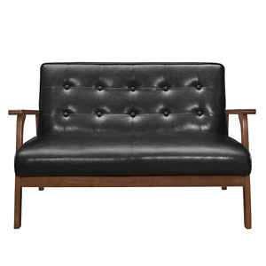 Home Depot: Harper & Bright Designs Modern Black PU Solid Wood Loveseat Sofa