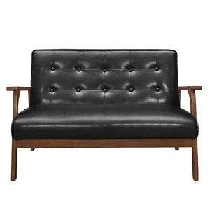 Home Depot: Harper & Bright Designs Modern Black PU Solid Wood Loveseat Sofa