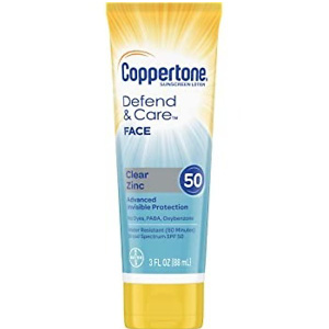 Coppertone Defend & Care Clear Zinc Sunscreen Face Lotion