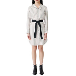maje Rayone Stripe Long Sleeve Shirtdress