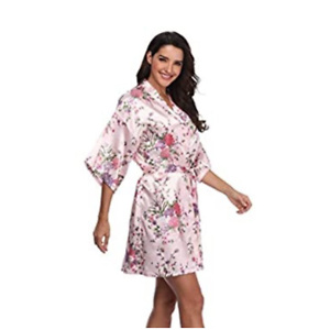 EPLAZA Women Floral Satin Robe Bridal Dressing Gown