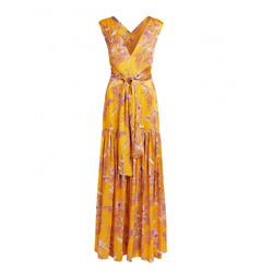 ALEXIS Belaya V-neck Floral Cut-out Back Wrapped Maxi Dress