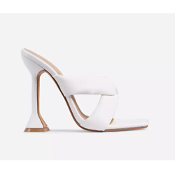Next-Level Square Toe Twisted Cross Strap Pyramid Heel Mule In White Faux Leathe