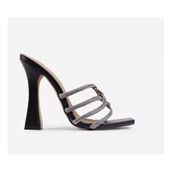 Tango Diamante Detail Square Toe Curved Block Heel Mule In Black Faux Leather