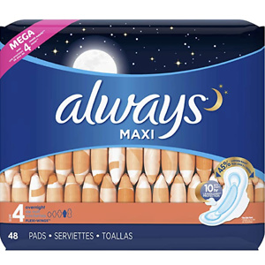 Always Maxi Size 4 Overnight Pads