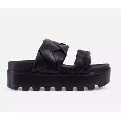 Sunrise Woven Chunky Sole Platform Flat Slider Sandal In Black Faux Leather