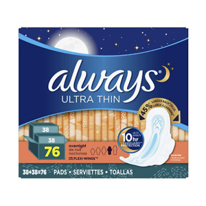 Sams Club: Always Ultra Thin Overnight Pads with Wings (76 ct.) for $12.48