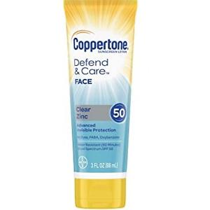 Coppertone Defend & Care Clear Zinc Sunscreen Face Lotion