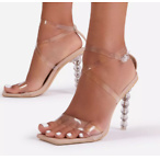 Thriller Strappy Square Toe Clear Perspex Sculptured Heel In Nude Faux Leather