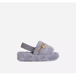 Charming Kid's Diamante Butterfly Chain Detail Fluffy Stripe Slipper In Grey Faux Fur