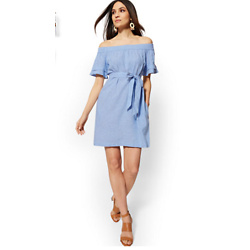 LINEN OFF-THE-SHOULDER SHIFT DRESS