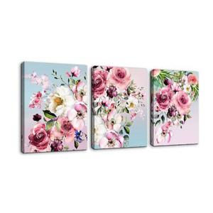 花卉帆布装饰画三件套
