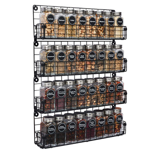 Spice Rack Organizer Wall Mounted 4-Tier Stackable Black Iron Wire Hanging Spice Shelf