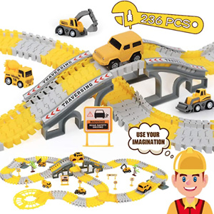 iHaHa 236PCS Construction Race Tracks