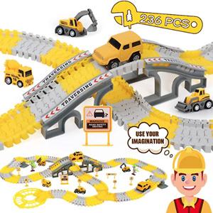 iHaHa 儿童建筑工程车辆轨道玩具组合