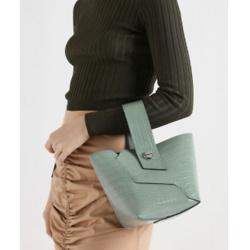 Croc-Effect Wristlet Handle Bucket Bag