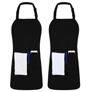 Utopia Kitchen 2 Pack Adjustable Bib Apron with 2 Pockets
