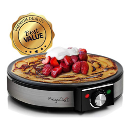 MegaChef Round Stainless Steel Crepe and Pancake Maker Breakfast Griddle
