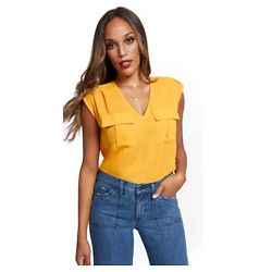 SLEEVELESS PULL-OVER UTILITY BLOUSE