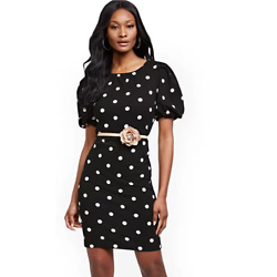 DOT-PRINT PUFF-SLEEVE SHEATH DRESS