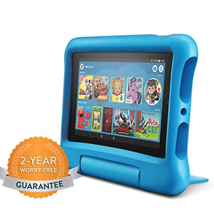 "Fire 7 Kids Edition Tablet, 7"" Display, 16 GB, Blue Kid-Proof Case"