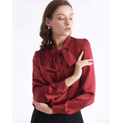 Bow-tie Neck Silk Blouse