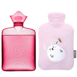 Samply Transparent Hot Water Bottle- 2 Liter Water Bag with Cute Fleece Cover