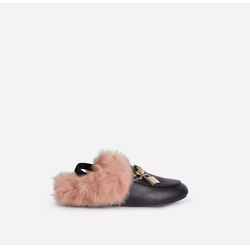 Baby-Attitude Kid's Padlock Chain Detail Sling Back Fluffy Flat Mule In Black Faux Leather