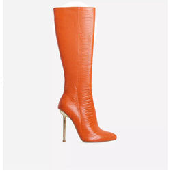 Clarity Metallic Heel Knee High Long Boots In Orange Croc Print Faux Leather