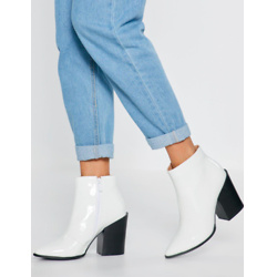 What's Your Ankle Patent Heeled Boots
