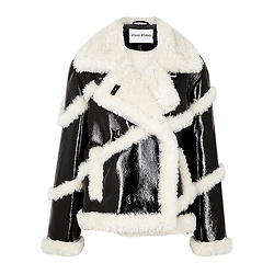 STAND STUDIO Melendy faux shearling-trimmed PVC jacket
